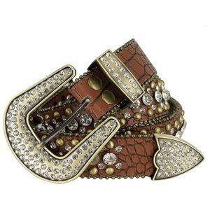 Cowgirl Bling Studded Design Leather Belt